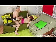 Sex of man in age and his young red-haired mistress finished with wonderful rimming 3