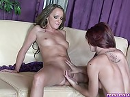 Red-haired lesbian woman licks with pleasure snatch of her beddable mistress 8