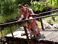 Dressed to the nines gentleman fucks two spectacular Spanish bitches on the small bridge 4