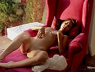 After red-haired Asian scratched shaved pussy with fingers, she felt asleep right away 7