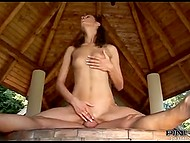 Slender beauty with small breast gladly rides enduring penis in the gazebo 7