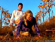 Man and blonde were frigging in vineyard while photographer was taking some pics 6