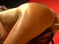 Full-bosomed brunette measures depth of girlfriend's vagina thrusting inside fist 6