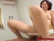 Smiling Japanese chick rides sweetheart's cock and moans of satisfaction 5