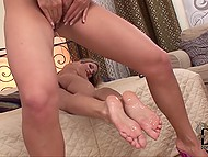 White-haired girlfriends get satisfaction licking urine off each other's lovely legs 6