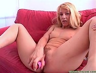 Blonde-haired colleen entertains herself with favorite dildo massaging sweet cunny