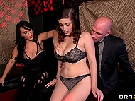 Brutal man has fun with charming full-bosomed babe and her voluptuous pimpstress 4