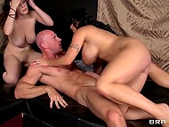 Brutal man has fun with charming full-bosomed babe and her voluptuous pimpstress 9