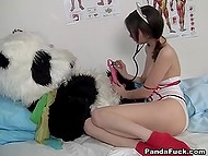 Bulky plush panda is ill and careful nurse comes to bounce on plastic instrument 5