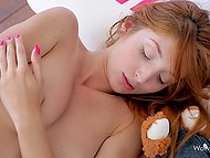 Enchanting red-haired sweetie fondles excitedly her sexy body after awakening 8