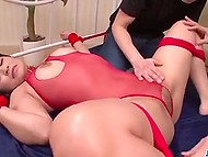 Buddies rope Japanese's red bodystocking instead of taking it off and nailed shaved pussy 3