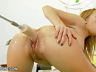 Blonde makes trimmed fanny squirt using drilldo and vibrators at the same time 11