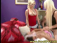 Three gorgeous blonde girls are playing withsmall dick and having fun about that 5