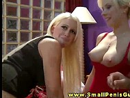 Three gorgeous blonde girls are playing withsmall dick and having fun about that 7