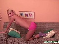 Blonde-haired cutie took off pink panties and spectators could see clean-shaven pussy 8