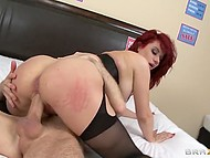 Security officer's wild desire overcame the fear to be fired and he owned shameless bitch with red hair 9
