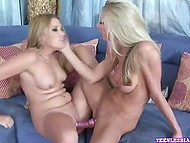 Naked voracious lesbians enjoy their new acquirement - long double-sided dildo 4