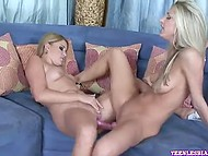 Naked voracious lesbians enjoy their new acquirement - long double-sided dildo 6