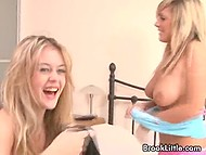After pillow fight, playful blondes with pretty faces slightly kneaded natural breasts 7