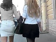 Badass with hidden camera is walking around the city and looking up Russian schoolgirls' skirts 11