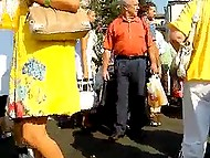 Pervert pokes hidden camera up skirts of Russian girls so insensibly that they don't even notice it 5