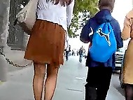 Pervert pokes hidden camera up skirts of Russian girls so insensibly that they don't even notice it 7