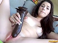 Long-haired beauty oiled huge black vibrator and made pussy overexcited 6