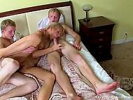 Двое парней по очереди пользуют молоденькую подружку, готовую к сексуальным приключениям 11