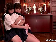 Asian sexpots got excited and decided to fool around a little bit in the church after prayers in futanari video 4