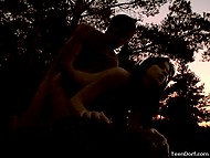 Passionate couple took advantage of twilight to have tender sex by the lake 7