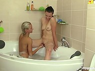 GF called blonde babe to go out but she was taking bath and they combined it with lesbian fun 7