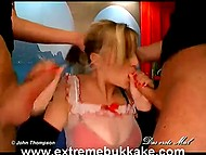 Light-haired girl works with mouth continuously to taste a lot of man's juice 9