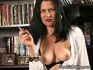 Seductive baroness XXX Mina knows how to transform smoking into spectacular show