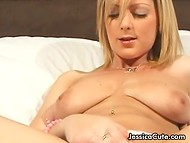 Golden-haired Jessica Cute shows how excited she can be in the British XXX video 8