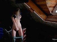 Littery attic became the place where charming babe urinated and pleased pussy 6