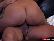 Dark-haired cutie sucked massive dick with pleasure and blissed out when he entered her smooth peach 7