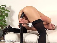 Beauty in fashioned stockings brings hungry pussy incredible feelings with vacuum cleaner 4
