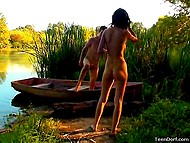 To make attractive girlfriend happy, athletic boy took her to the river and fucked in the boat 10