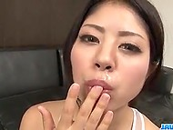 Group of guys wanted Japanese in white monokini to impress them with blowjob 8