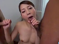 Asian was not at a loss and continued to suck when three cocks appeared instead of one 5