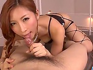 Japanese uses lips and tongue knowingly and it allows her to handle two cocks easily 4