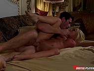 Athletic husband couldn't start the morning without pleasing big-tittied wife with active sex