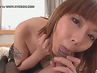Asian was preparing breakfast but husband with camera wanted to go back to bed and make love 5