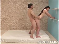Lovers got sick of common positions and decided to try something new on mattress 4