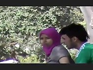 Mesut Ozil fan was caught on camera when was owning Muslim teen in hijab behind the tree 5