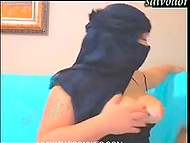 Chubby Muslim woman hides face but demonstrates body shapes on webcam 4