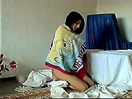 Man deflowers Russian teen of Oriental appearance with fingers and a comb 11