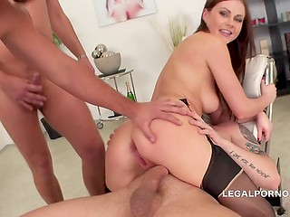 Lithuanian Tina Kay's asshole is so capacious that she doesn't feel any discomfort with two cocks inside it