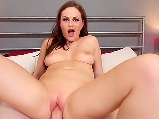 Voluptuous Lithuanian Tina Kay with brown hair wanted cameraman to nail her pussy till it goes red