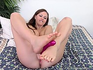 Salacious Lithuanian Tina Kay kneads shaved sissy and simulates footjob using dildo